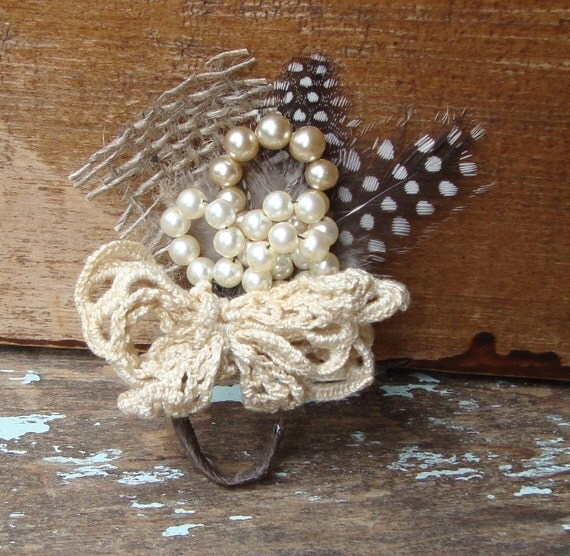 Vintage Rustic Creamy White Handmade Pearl Flower and Lace Millinery Bouquet Boutonniere