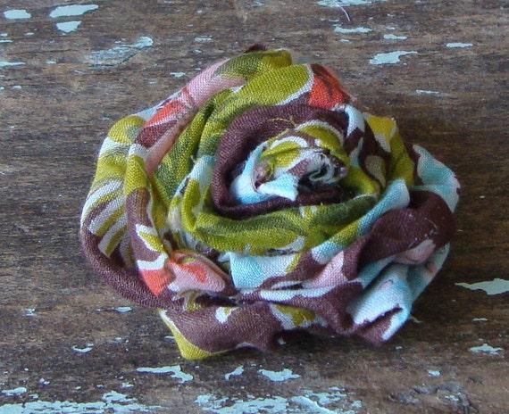 Handmade Vintage Brown Hankey Fabric Flower