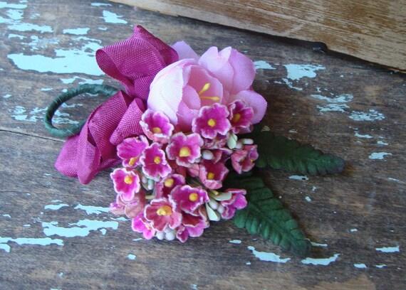 Vintage Berry Pink Posy Bouquet Boutonniere