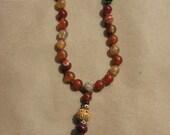 BUDDHIST HAND  MALA, 27 beads, prayer beads, agate, 431