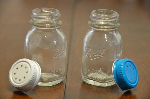 Vintage Ball Mason Jar Miniature Salt & Pepper Shakers Set 1970s