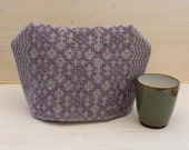 Tea Cozy Handwoven in Lilac and Gray Wool
