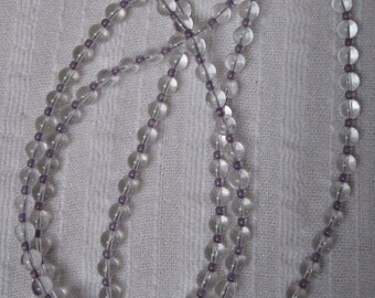 Sparkling Crystal and Frosted Purple Glass Beads Necklace