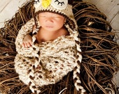 Crochet Baby Cocoon & Owl Hat Photo Prop Set. Free shipping within the US.