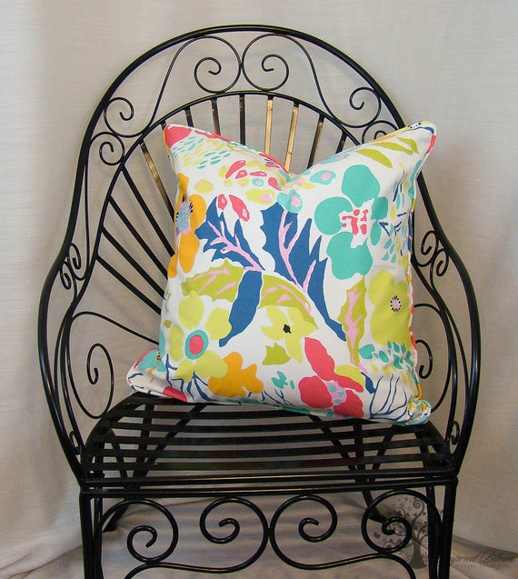 "P Kaufmann ANNIE SELKE/Hot House Flowers in Multi - Pillow Cover - 22"" x 22"""