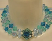 Vintage Aurora Borealis 50s LUCITE  NECKLACE / 50s / 2 Strand Box Clasp Chocker / Blue / Boho / Avant Guarde / Flower / Bohemian
