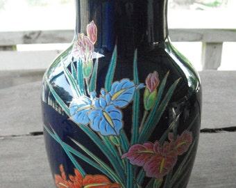 Vintage 50s TOYO Vase Gosu Iris VASE..Colbalt Blue Asian Oriental Vintage  Vase Japan mid century hollywood regency