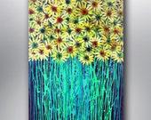 Art Painting Abstract Acrylic Original Yellow Gerbera Daisies  Garden Flowers Acrylic on 36''x24'' Canvas
