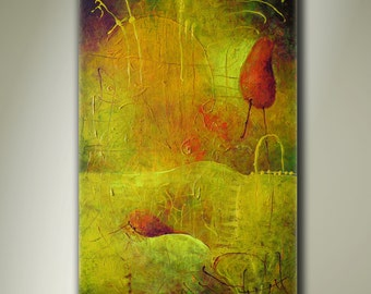 "Art.. Abstract painting.. Canvas painting..Original painting .. Yellow Painting.. ""Two Red Objects"".. ORIGINAL PAINTING"