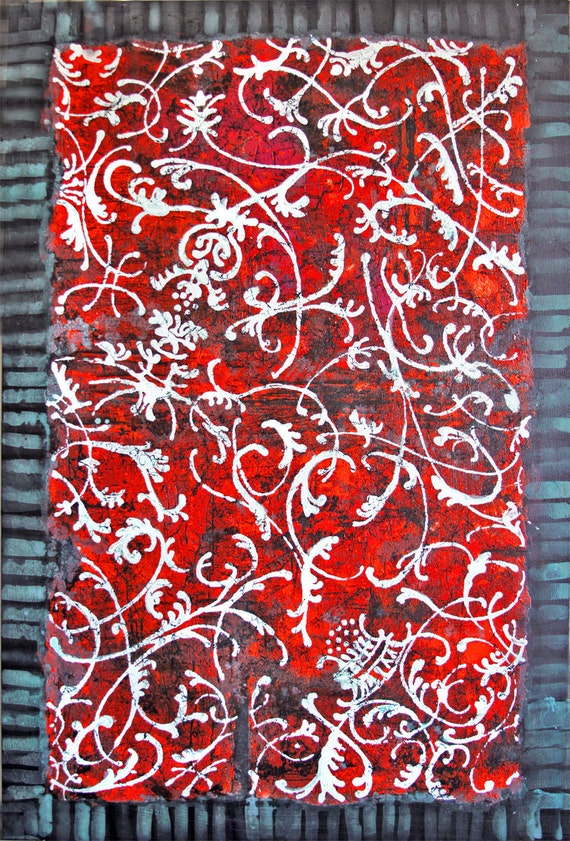 ORIGINAL PAINTING  Antique Swatch Ornaments  Vintage Fabric  Tapestry
