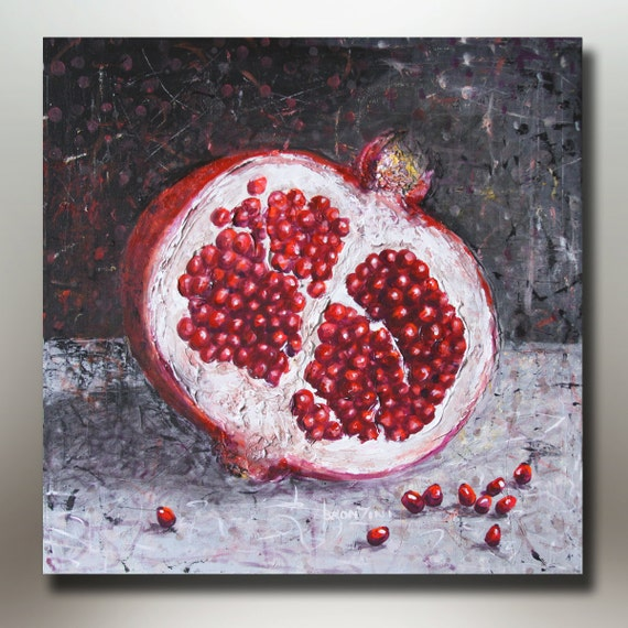 ORIGINAL ACRYLIC PAINTING  Pomegranate