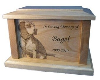 Custom Personalized Pet Memorial  Maple Urn Laser Engraved w/ Picture 100 cubic inches