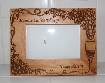 Custom Laser Engraved Photo Picture Frame Wine / Winery  Personalized