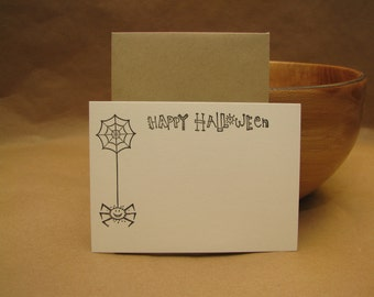 Halloween, Flat Card, Spider Web and Happy Halloween stamped by M Blanchard Designs