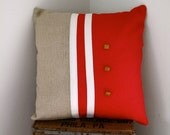 Hemp and Burlap Red Pillow Cover With 1970s Vintage Button