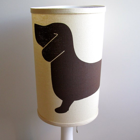 Dachshund lamp shade screen printed by clothandink on etsy - Dachshund lamp ...