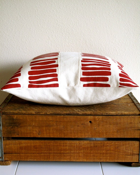 Red Raspberry Organic Pillow Cover - Screen Printed