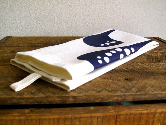 Blue Kitchen Towel - Eco friendly Hand Printed - Organic gifts