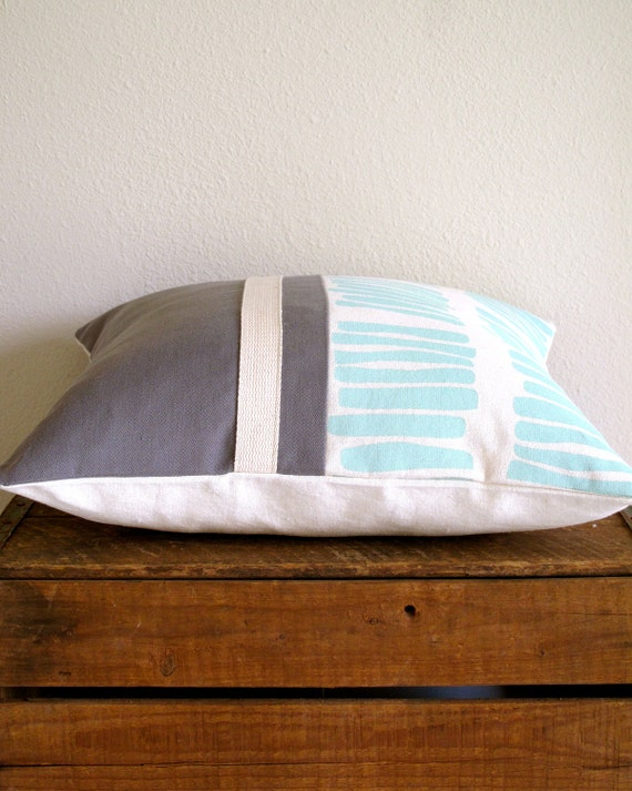 Screen Printed Organic Pillow Cover - Mint and Gray