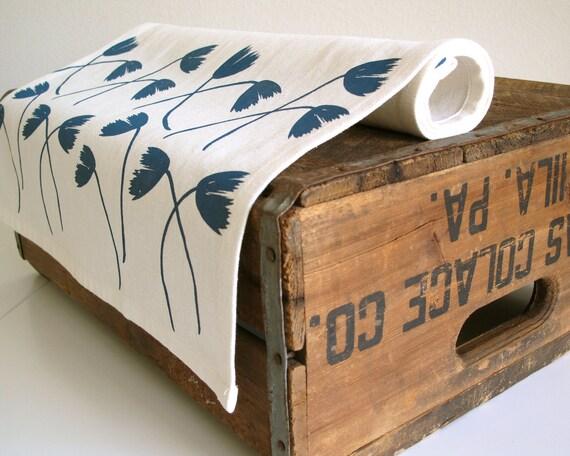 Screen Printed Teal Flower Table Runner by Cloth & Ink