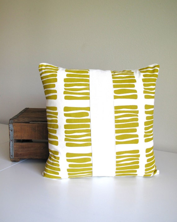 Screen Printed Eco Pillow - Yellow - by Cloth & Ink