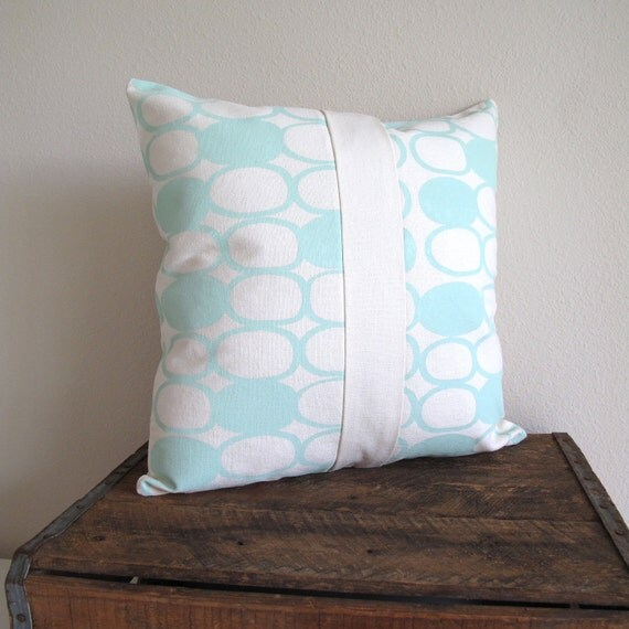 Organic mint screen printed pillow cover
