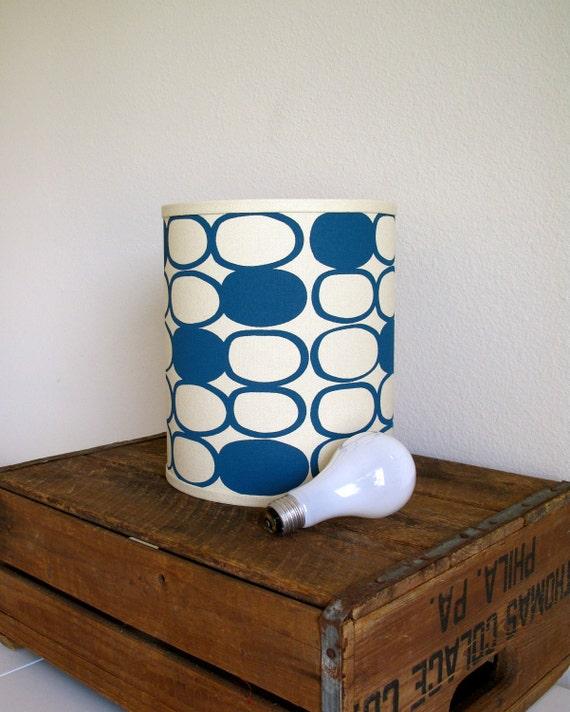 Modern Blue Hand Printed Linen Lamp Shade - Black Friday SALE