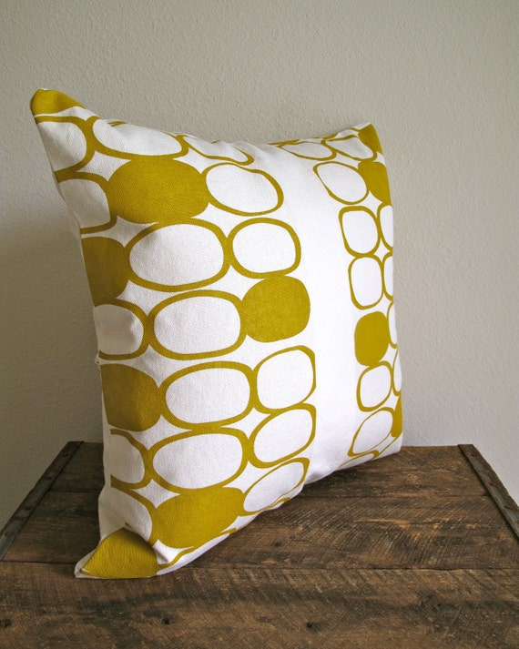 Hand Printed Mustard Pillow Cover - 16x16