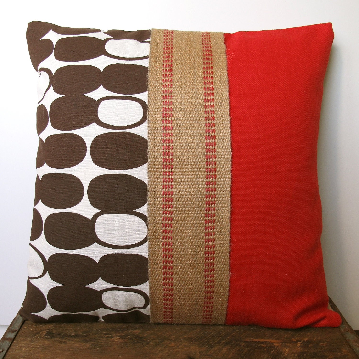 Handmade Modern Pillow Covers : Red Brown Pillow Cover Hand Printed Modern Pattern