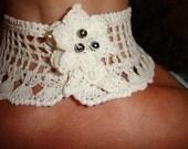 Lace Crochet Chocker Collier Collar Necklace New Collection White Cotton flower Neckwear handmade scarf women girl accessories