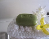 SALE DOLLAR ONLY Cozy white soap dish holder hand knitted keeps your soap dry Bath Accessory Gift