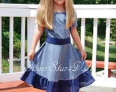 Girl's Blue Dress with Sash, Size 5-6