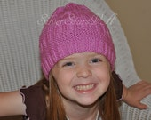 SALE Bright Pink Knitted Hat, Size 4-6