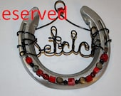 RESERVED Custom-Made Hand Beaded Horseshoe (With Additional Wire Names/Flowers)
