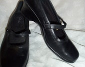 "Vintage Black Leather Size 8 Mary Janes by Clarks have 2 1/2"" Heels and plenty of Wear left in them Only 10USD"