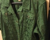 Vintage Green Brocade Jacket by Christopher & Banks has Front Pockets Size Large Only 10 USD
