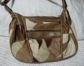Vintage Patchwork Leather Shoulder Bag Purse with Adjustable Strap in Beige, Brown, Tan only 5USD