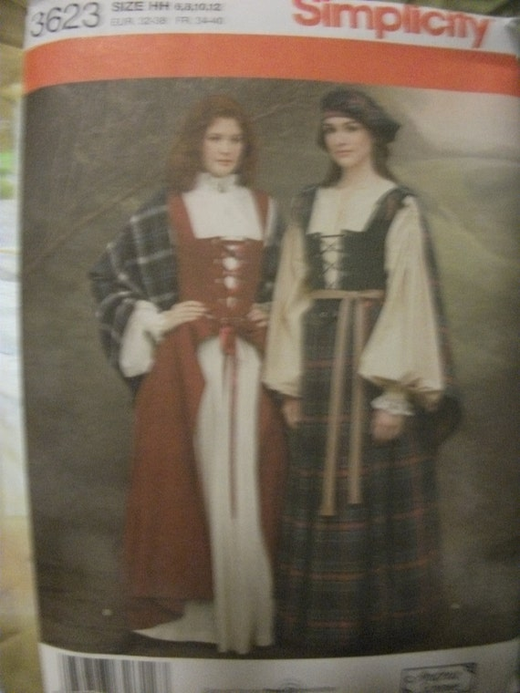 SALE Simplicity Pattern 3623 Makes into Tradition Scottish Garb including blouse,shawl,vest skirt, hat NOW 3USD