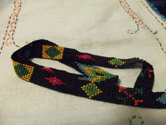 Vintage Hand Made and Beaded Native American Indian Glass Seed Bead Hatband 24 inches Long OOAK Only 16 USD