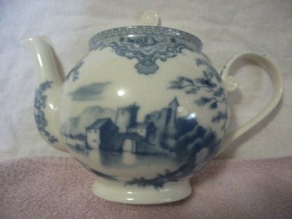 RESERVED for Melissa Antique Blue and white Landscape Porcelain Wall Hanging pocket Possibly Royal Crown Derby Now Only 6 USD