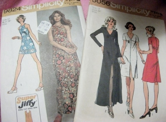SAlE 1/3 OFF Vintage Dress Patterns by Simplicity Size 12 Includes Maxi and Mini Dresses Vintage Purchased in 1972 NOW Only 2 USD
