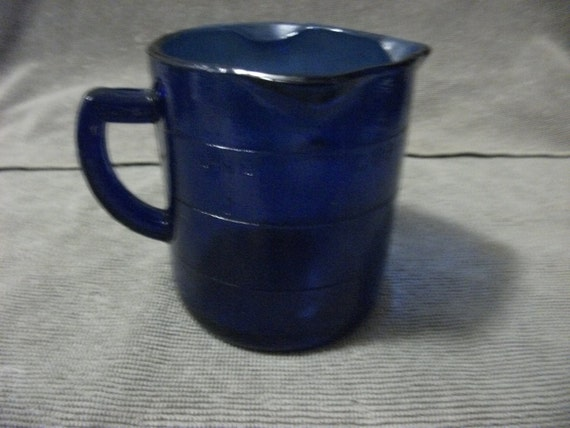Vintage Cobalt Blue Glass Measuring Cup marked on Both Sides Purchased during Depression Only 8 USD