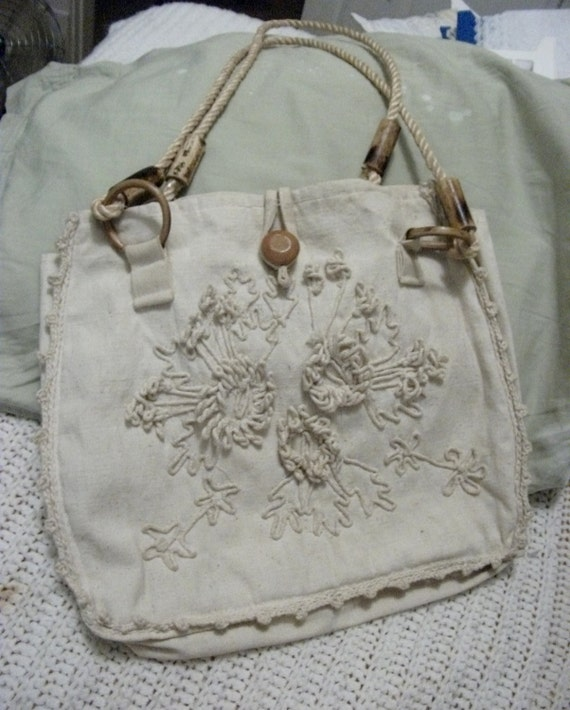 Vintage Purse Handmade of 100% Cotton Canvas with Floral and Leaf Design and Wood Accents Only 4 USD