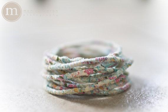 Aqua Pink Yellow and Sage Yoga Wrap Bracelet