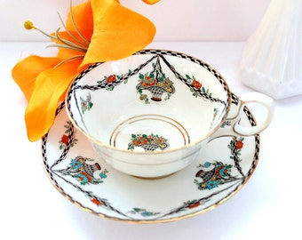 Vintage Wellington Tea Cup & Saucer English Bone China, Floral Swag