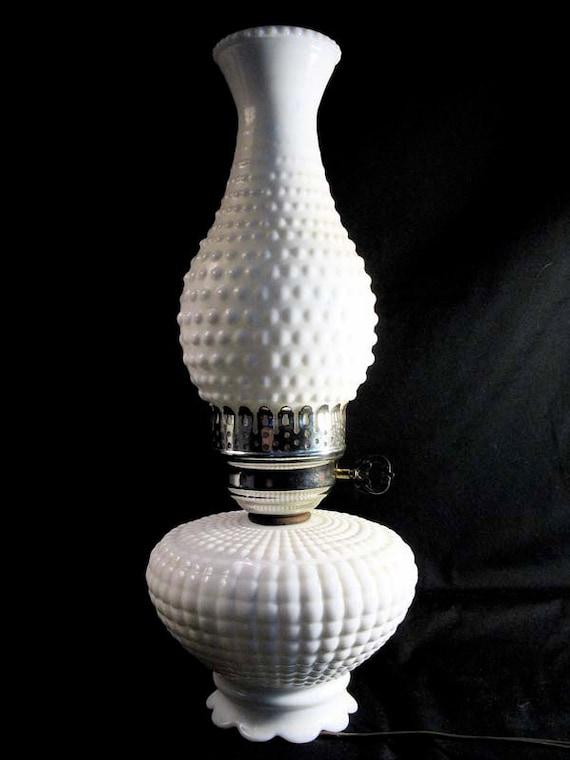 vintage hobnail hurricane lamp retro milk glass lamp