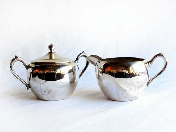 Vintage Silver Creamer & Sugar Bowl by F.B. Rogers Silver Co. Sweet Retro Set