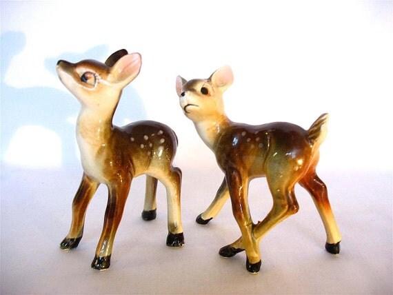 Vintage Deer Figurines Pair of 1960s Woodland Fawns