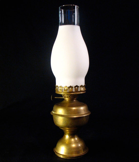 vintage brass oil lamp glass hurricane chimney by. Black Bedroom Furniture Sets. Home Design Ideas