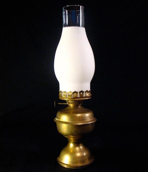Vintage Brass Oil Lamp & Glass Hurricane Chimney